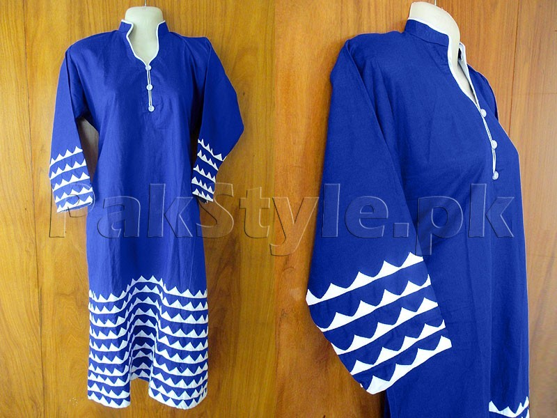 Blue Applique Work Ready-to-Wear Cotton Kurti