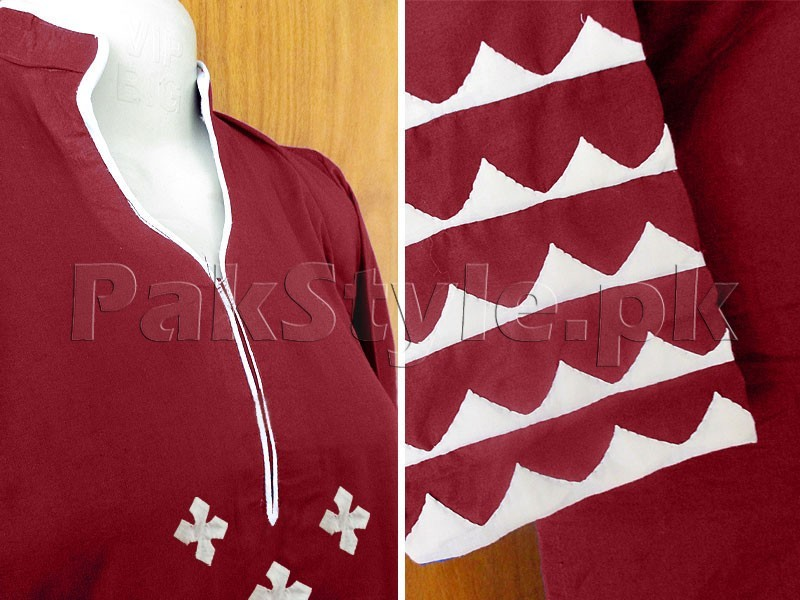 Maroon Applique Work Ready-to-Wear Cotton Kurti