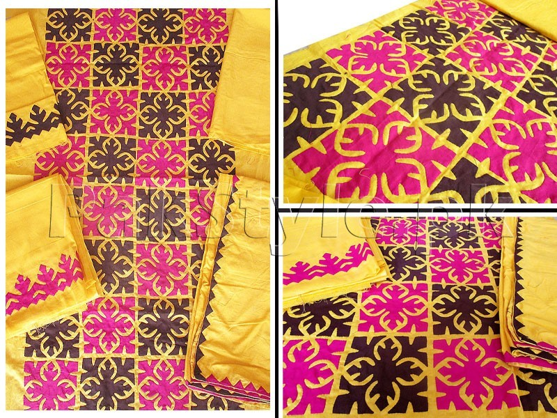 3-Pieces Sindhi Cultural Applique Work Cotton Lawn Suit