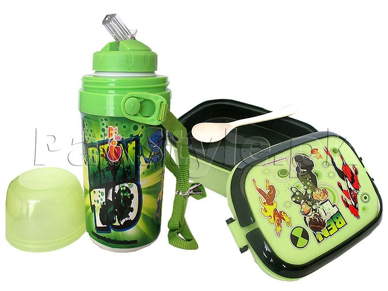 Kids School Thermos & Lunch Box Set - Green
