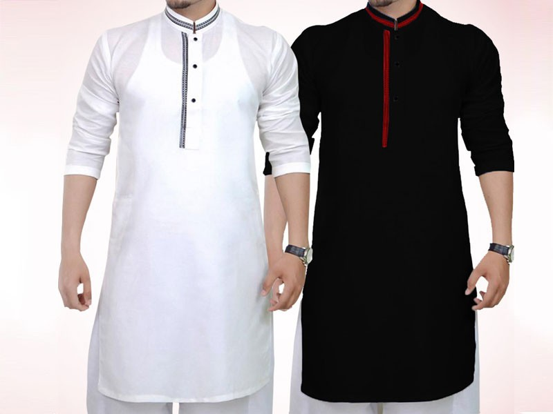 Pack of 2 Men's Readymade Wash-N-Wear Kurtas