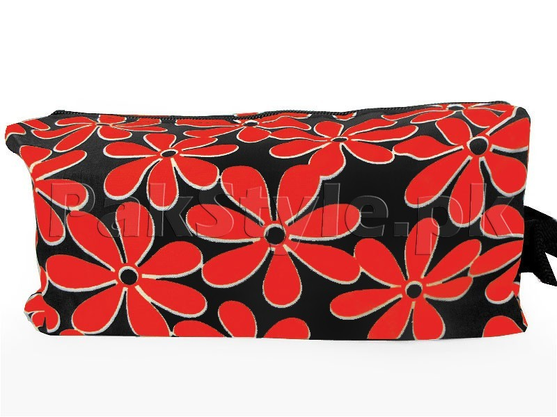 Flower Printed Cosmetics Storage Bag - Red
