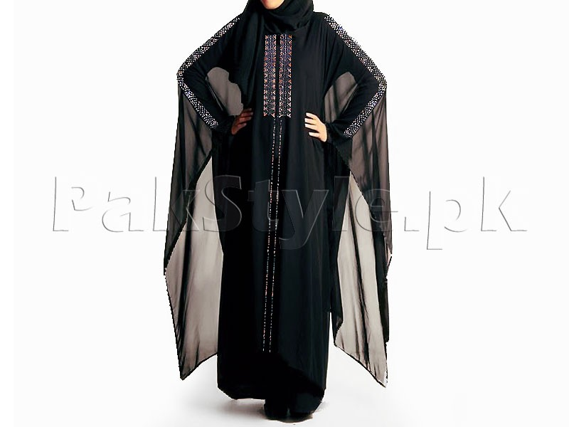 Butterfly Style Chiffon Fabric Abaya 2018 Design with Scarf