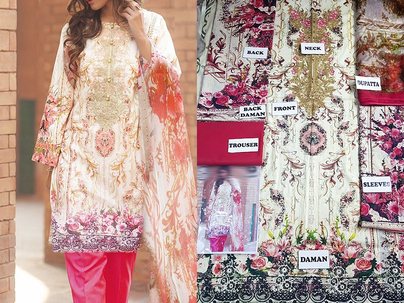 Embroidered Lawn Dress with Printed Net Dupatta Price in Pakistan