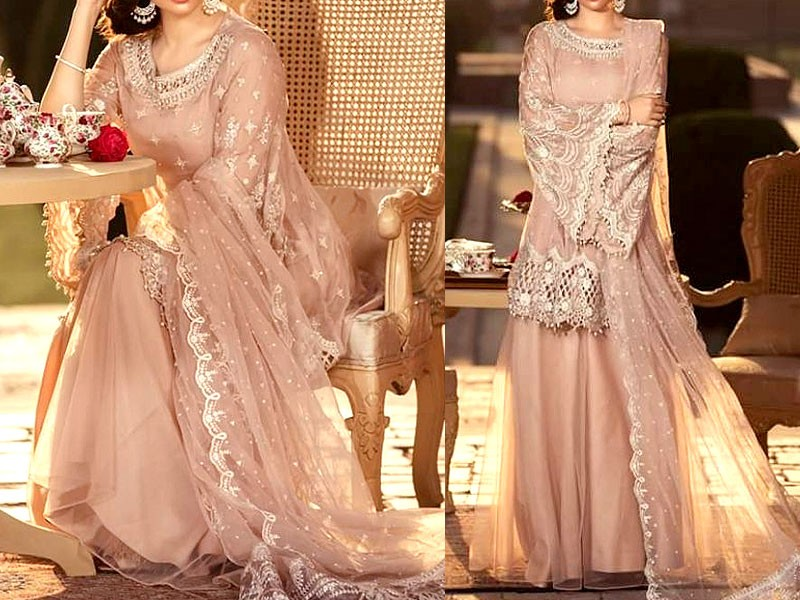 Embroidered Net Bridal Dress With Silk Trouser Price In