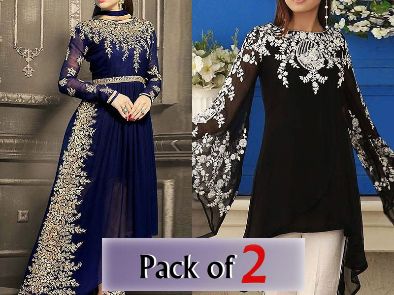 Pack of 2 Embroidered Chiffon Dresses