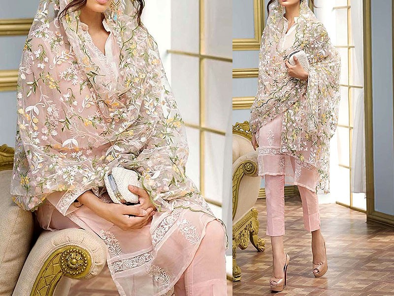 Embroidered Pink Chiffon Suit with Net Dupatta