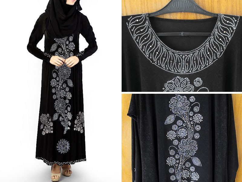 Self Print Jersey Abaya 2018 Design with Scarf
