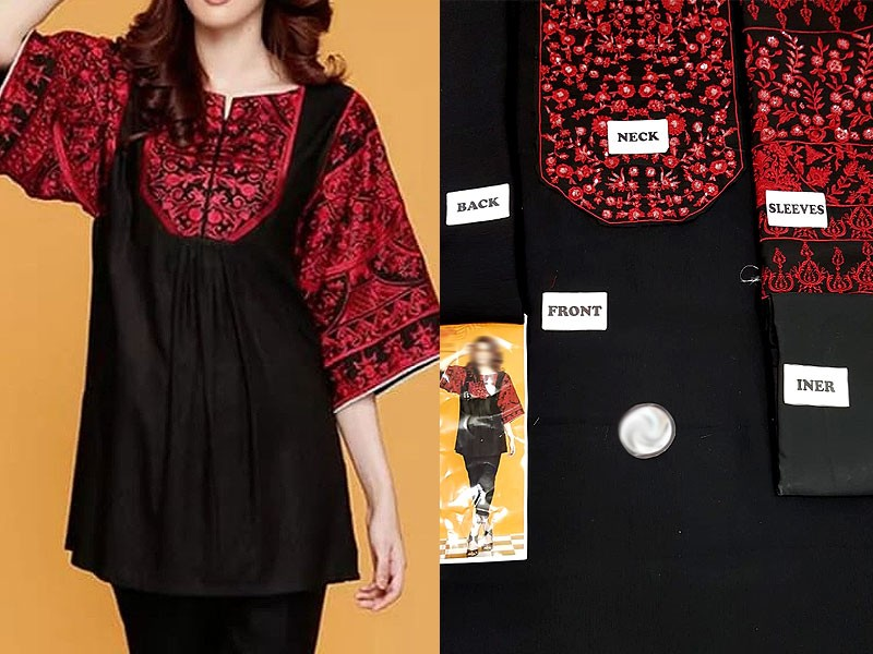 Unstitched Chiffon Embroidered Black Kurti with Inner