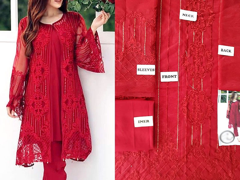 Unstitched Embroidered Chiffon Red Kurti with Inner
