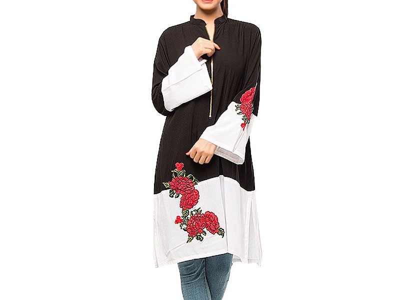 Boski Linen Flower Embroidery Black & White Kurti
