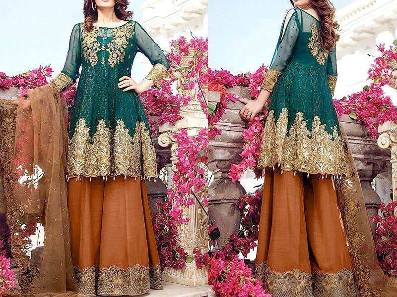 Embroidered Chiffon Dress with Silk Trouser Price in Pakistan