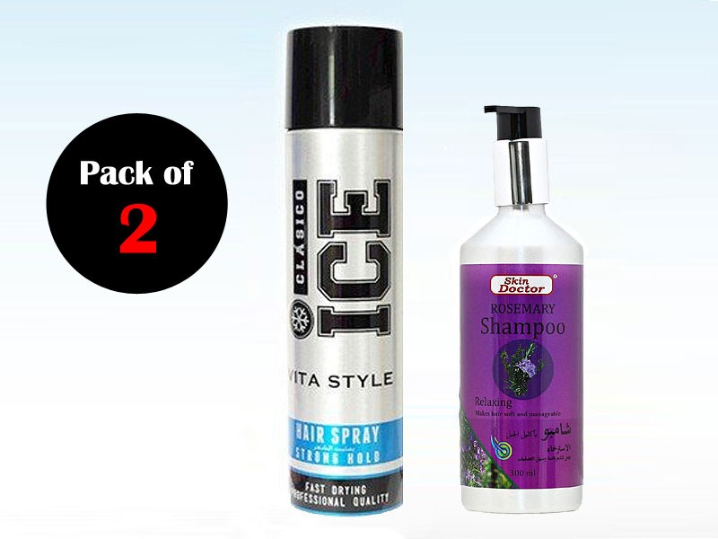 Pack of 2 ICE Hair Spray & Skin Doctor Shampoo