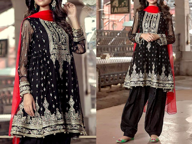 Embroidered Black Chiffon Saree with Inner Price in Pakistan