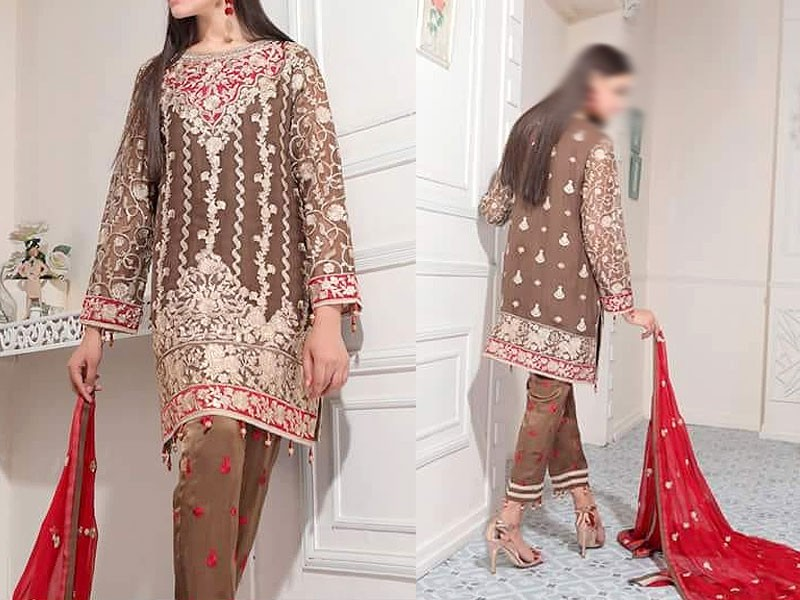 Embroidered Chiffon Dress with Embroidered Trouser