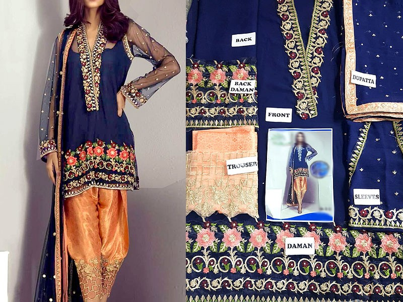 Embroidered Chiffon Suit with Jamawar Trouser