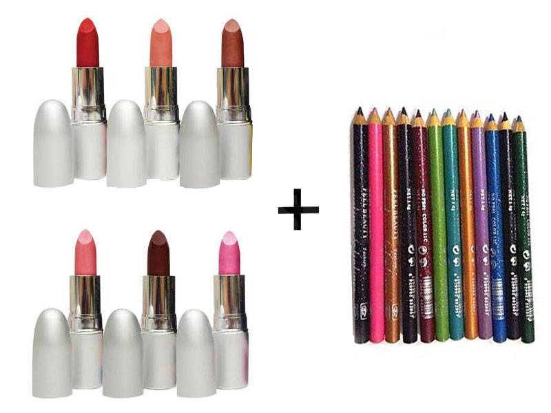 6 Balm Lipsticks with 12 Lip & Eye Liner Glitter Pencils