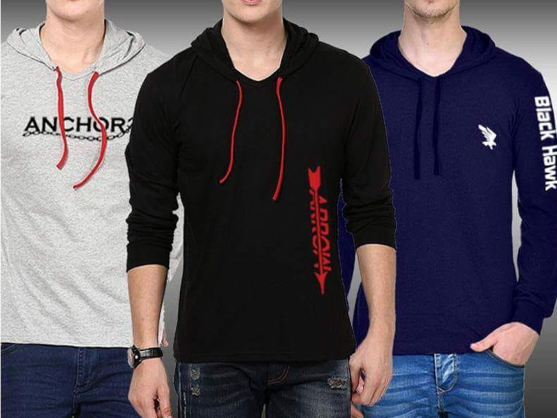 Pack of 3 Hooded Full Sleeves T-Shirts