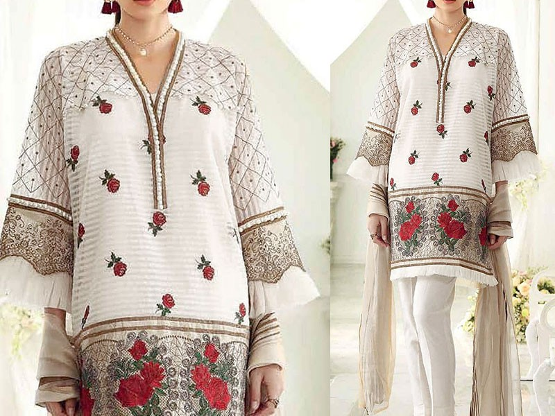 Embroidered White Chiffon Dress Price in Pakistan