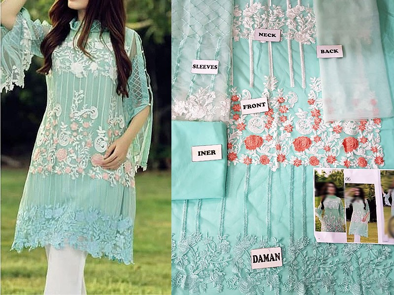 Unstitched Embroidered Net Kurti with Inner