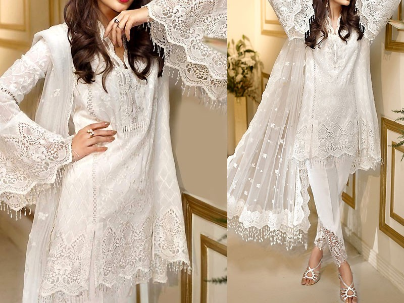 Embroidered White Chiffon Party Dress
