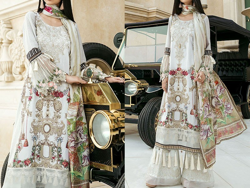 Pack of 3 Embroidered Lawn Suits with Net Dupatta