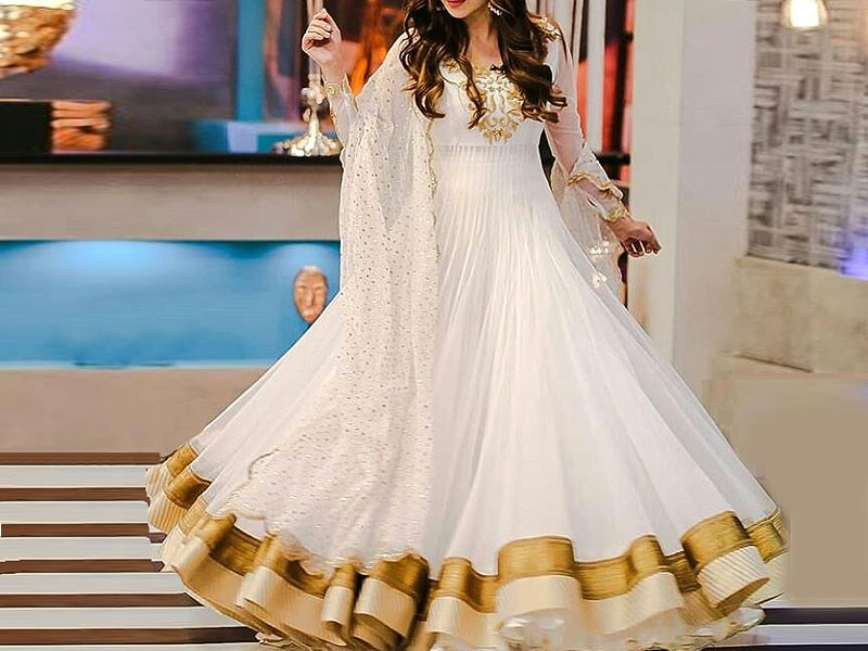 Embroidered White Chiffon Maxi Dress Price In Pakistan