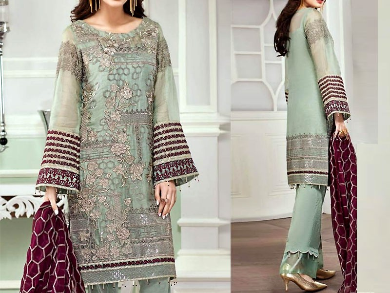 14f93061e7 Embroidered Chiffon Suit with Silk Trouser Price in Pakistan ...