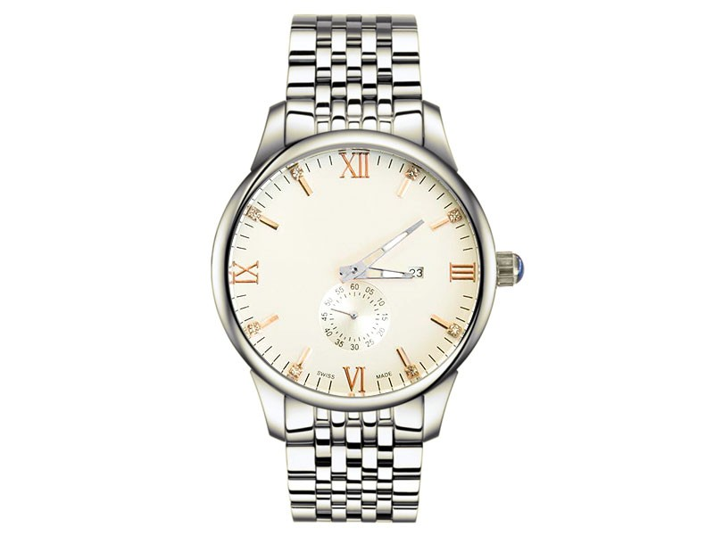 Men's Silver Chain Down Second Watch