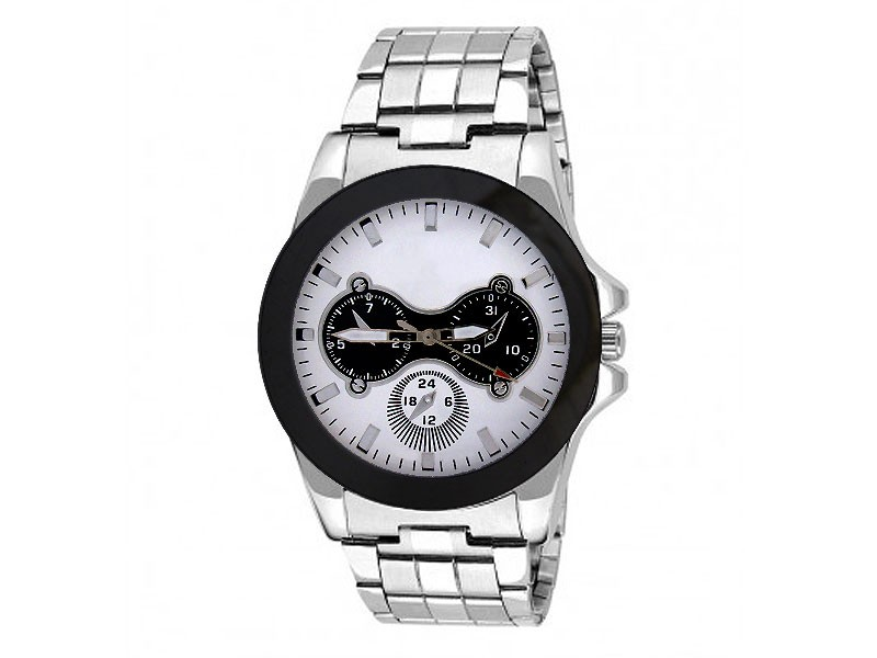 Men's White Dial Silver Chain Watch