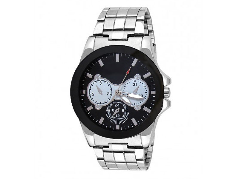Men's Black Dial Silver Chain Watch