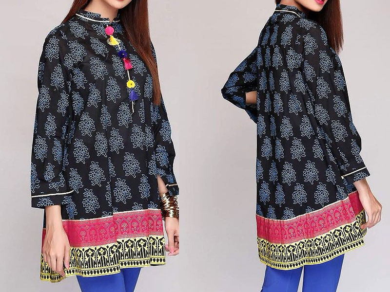 Printed Cotton Kurti with Tassels on Neck Price in Pakistan