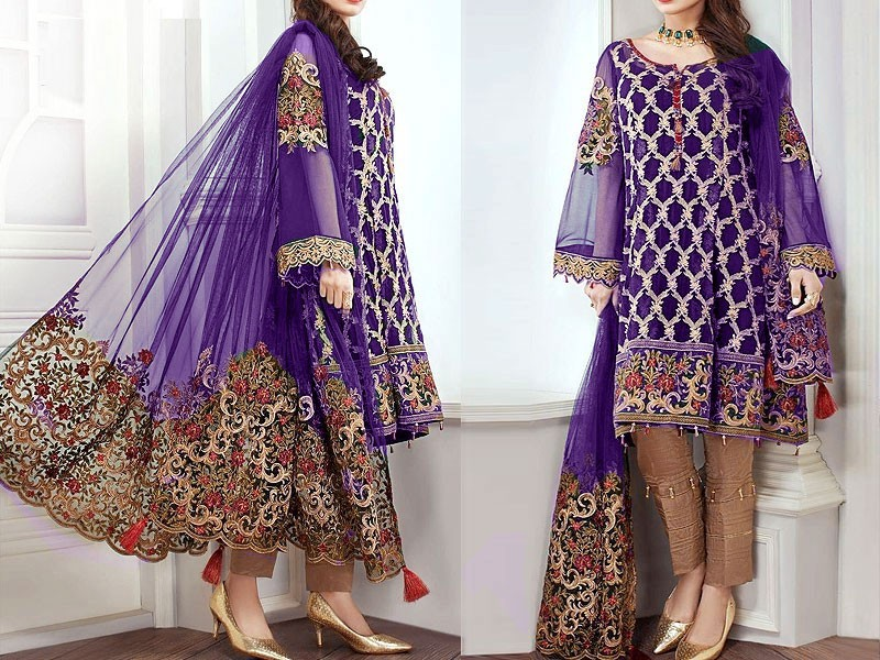 Embroidered Chiffon Suit with Net Dupatta Price in Pakistan