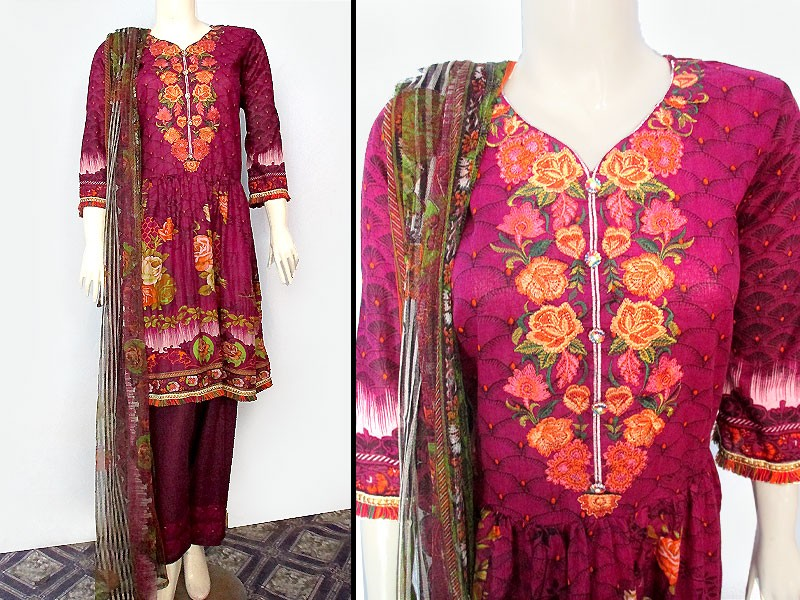 Heavy Embroidered Lawn Suit with Printed Net Dupatta Price in Pakistan