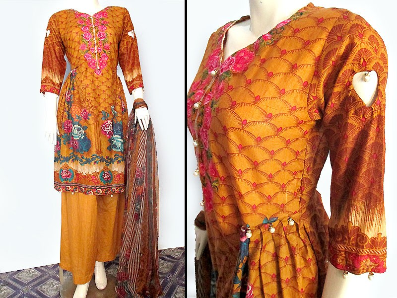 Embroidered Lawn Suit with Net Dupatta Price in Pakistan