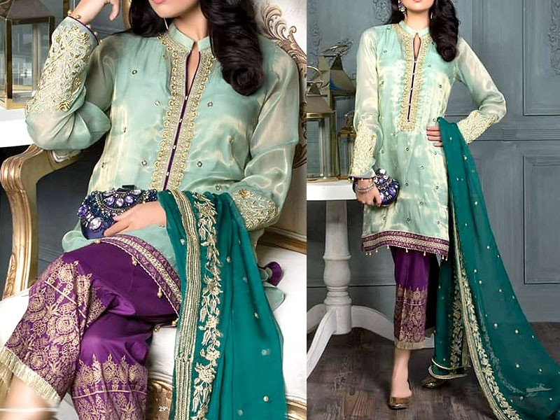 Embroidered Masoori Dress with Chiffon Dupatta