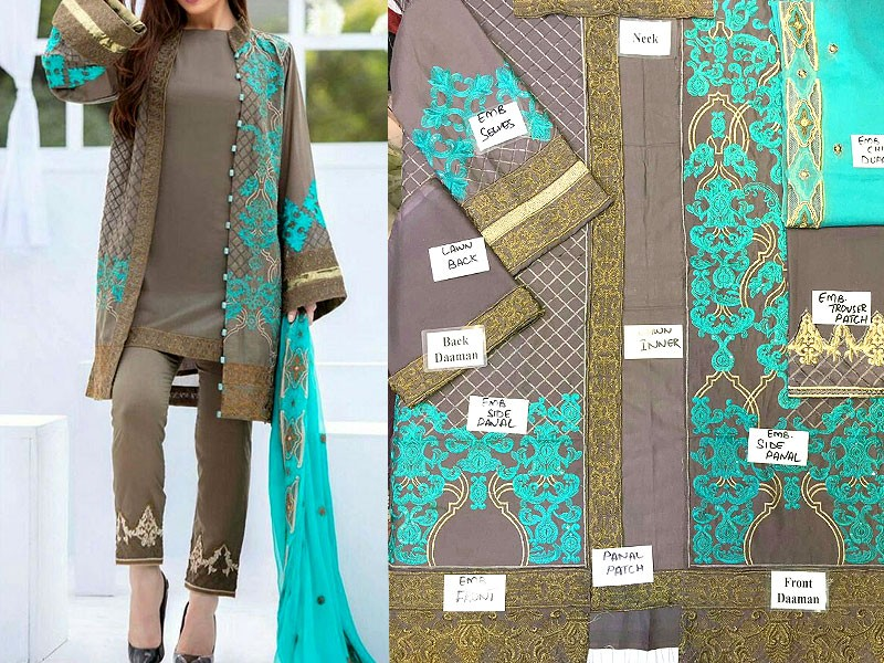 Embroidered Cotton Suit with Chiffon Dupatta