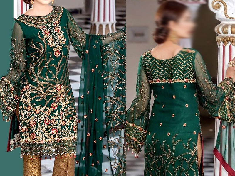 1e08aacd8c Embroidered Green Chiffon Suit with Jamawar Trouser Price in ...