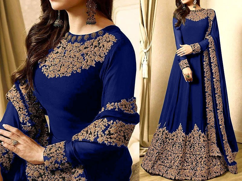 Heavy Embroidered Blue Chiffon Bridal Maxi Dress Price in Pakistan