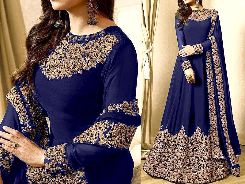 Indian Embroidered Blue Chiffon Maxi Dress