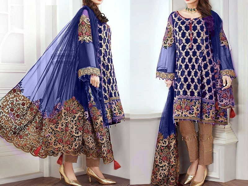 Indian Embroidered Navy Blue Chiffon Dress Price in Pakistan