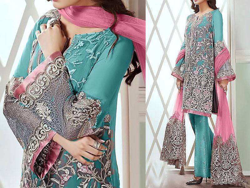 Embroidered Chiffon Dress with Net Dupatta