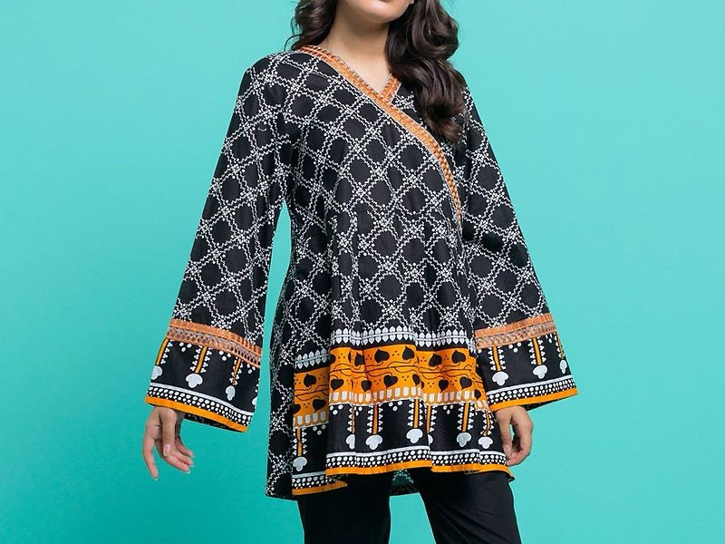 Printed Black Cotton Kurti For Girls
