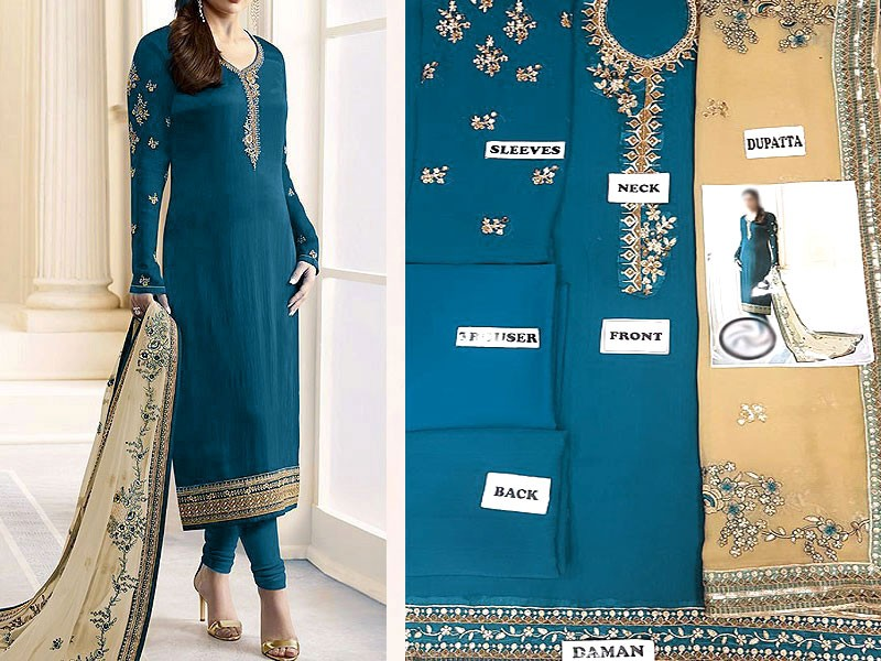 Indian Embroidered Blue Chiffon Dress