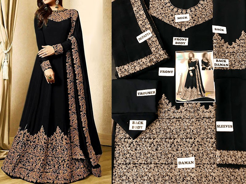 Indian Embroidered Black Chiffon Maxi