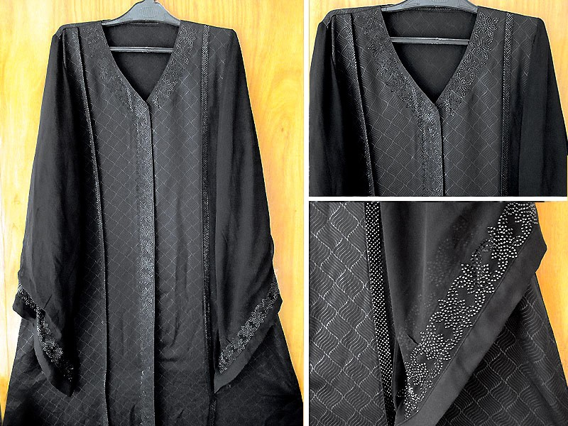 Black Nida Fabric Fancy Abaya with Scarf