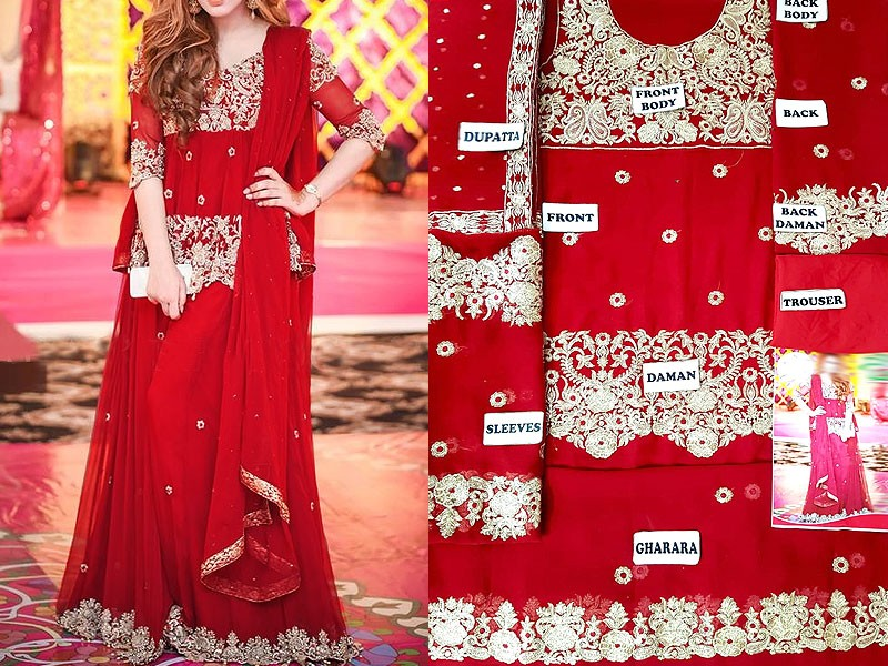 Embroidered Chiffon Red Bridal Dress
