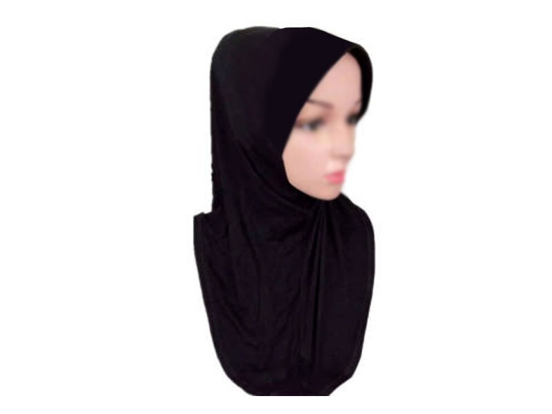 Self Print Black Jersey Abaya with Scarf