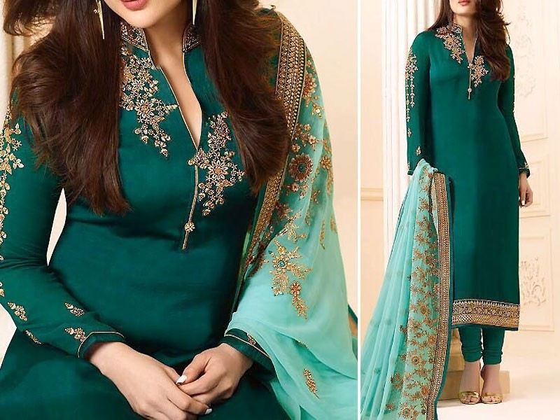 Indian Embroidered Green Chiffon Dress