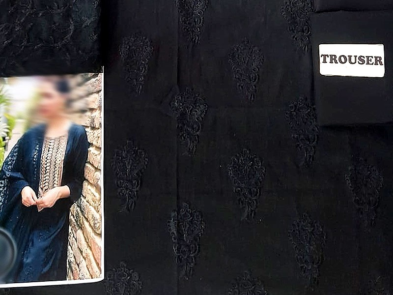 Embroidered Black Cotton Suit with Net Dupatta